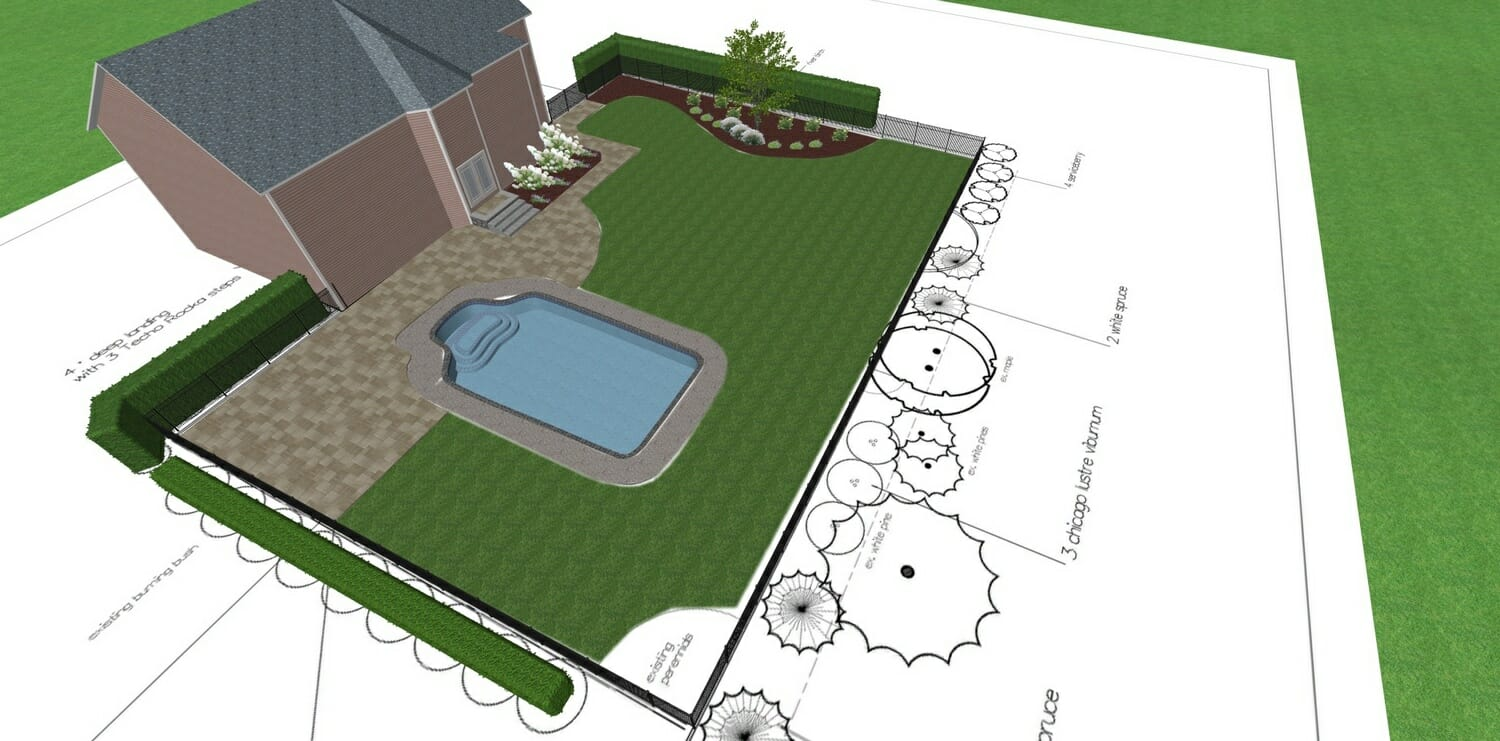 Landscape design around existing pool Glenville, NY