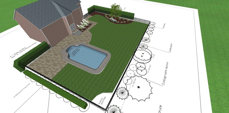 Landscape design around existing pool Glenville, NY