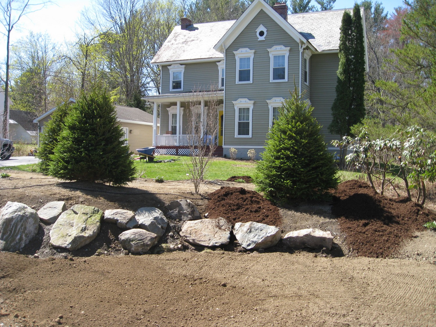 Front yard design home design ideas - Naturalistic Privacy Berm Delmar Ny Landscaping And