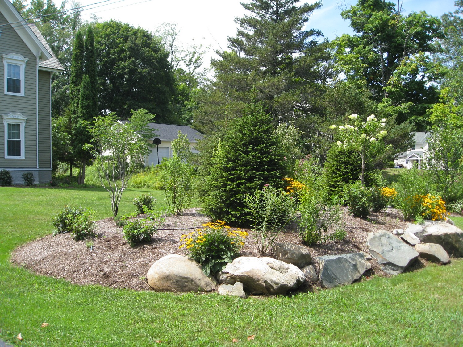 Naturalistic privacy berm delmar ny landscaping and for Landscape style