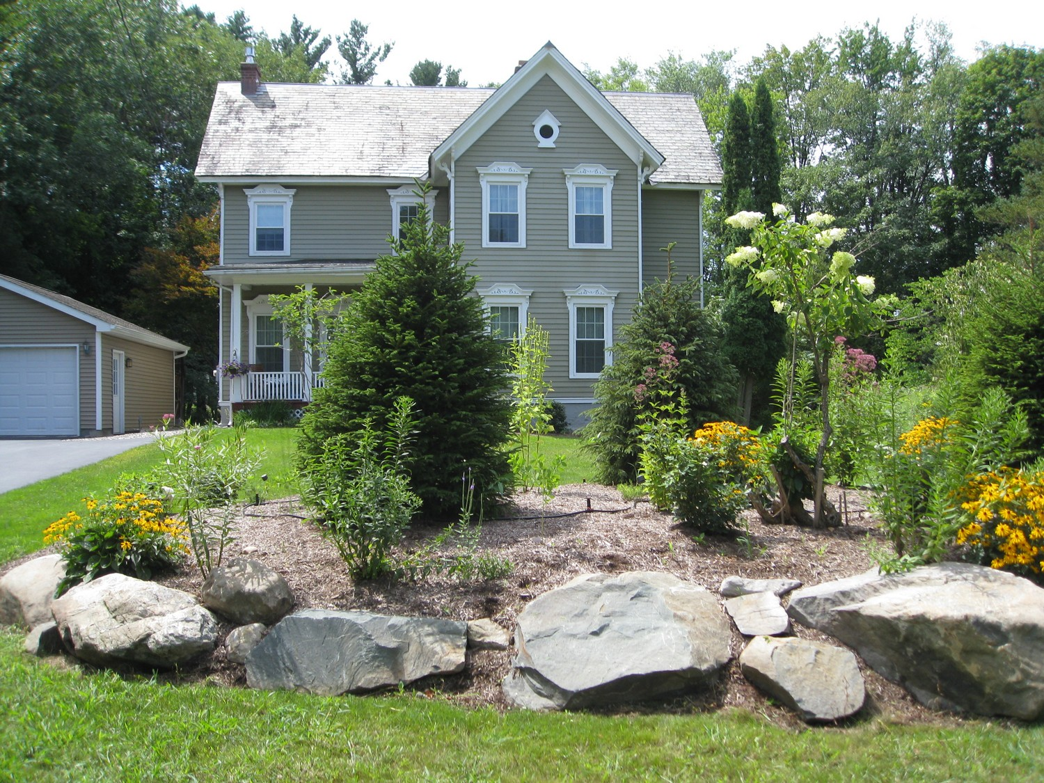 Naturalistic privacy berm delmar ny landscape design for House landscape